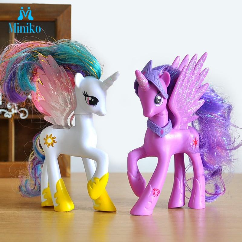 14cm Rainbow Dash Unicorn Pony Toys My Little Mini Horse Princess Celestia Luna Pvc Action Figure Collection Model Doll For Girl