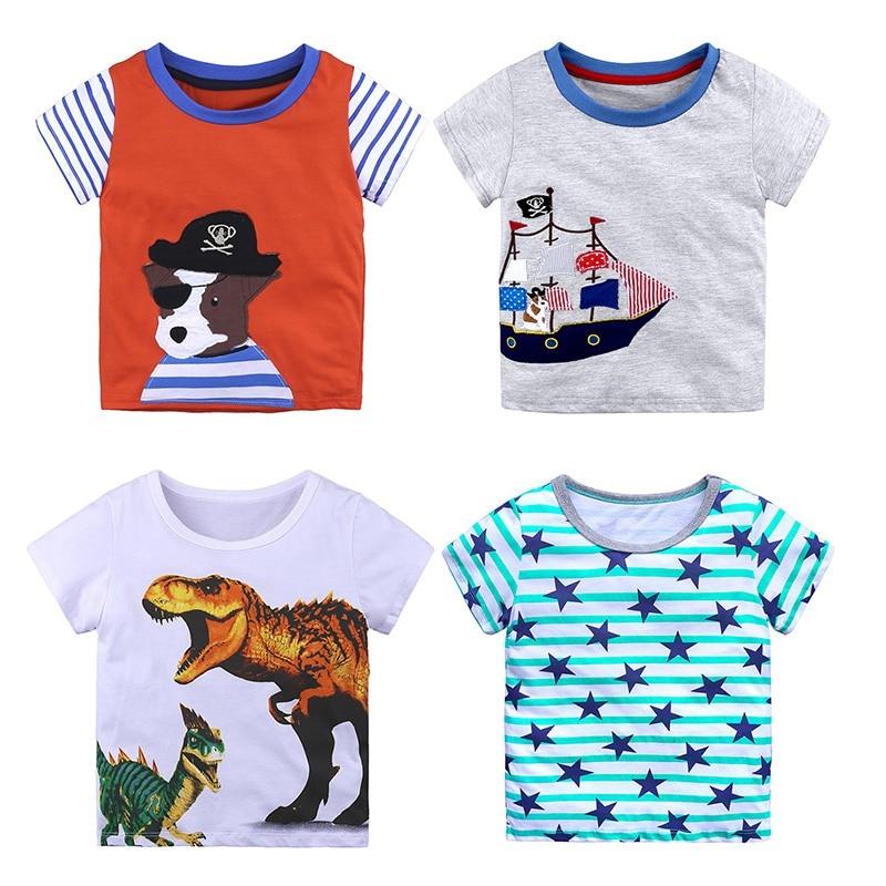 Lights & Lighting 2018 Summer Cotton Short Sleeves Girls Tops Bottom Shirts Baby Boys T-shirt Striped Cartoon Dinosaur Kids Comfortable Tees 2-8y