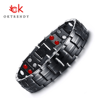 Oktrendy Magnetic Bracelet Men Chain Black Stainless Steel Bangle Health Energy Bracelets Jewelry For Women or NO246
