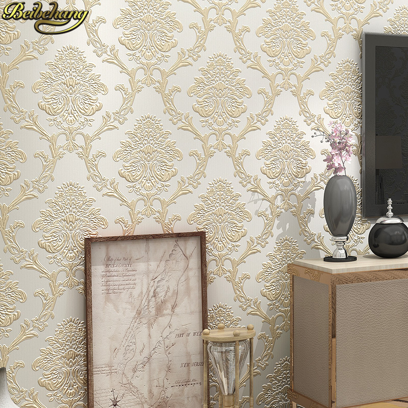 beibehang Europe Damascus 3d wallpaper Damask wall coverings Embossed textured wall paper bedroom sitting room papel de parede wallpaper modern anchos travelling boat modern textured wallcoverings vintage kids room wall paper papel de parede 53x1000cm
