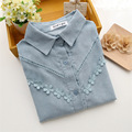 2017 New Arrival Spring Women Long Sleeve Flower Appliques Preppy Style Shirt Loose Blue White Blouse Quality Guarantee ZH052