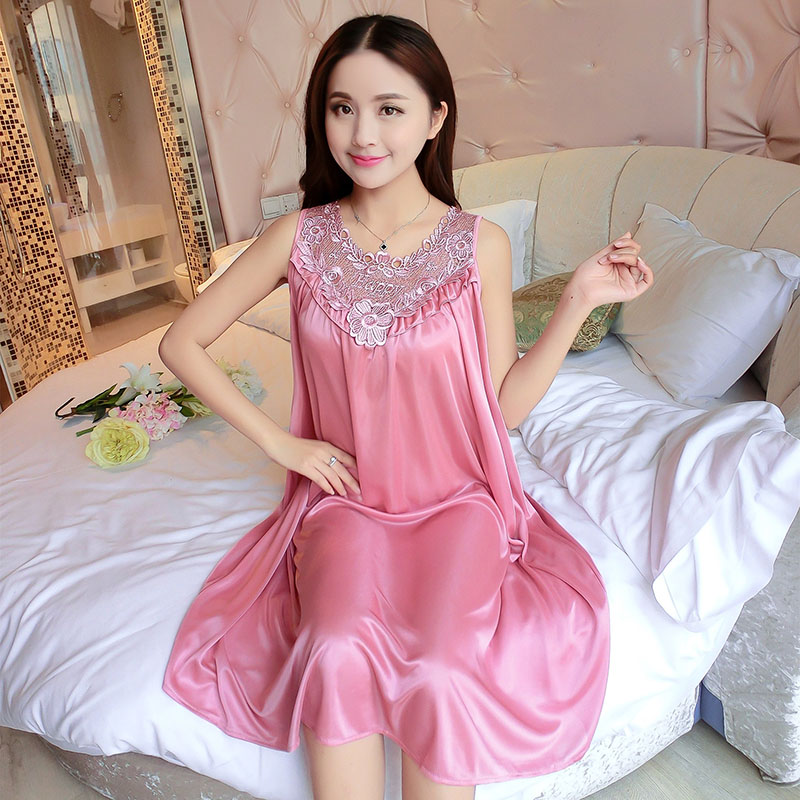 YINSILAIBEI Large Sexy Night Dress Ice Silk Satin Sleepwear Female  Nightgown Women Sleeping Dresses Plus Size Night Shirts  22-in Nightgowns    Sleepshirts ... db046434d4f2