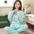 Plus size pijama busto plus size roupa de dormir tamanho grande Sleepwear Pijama Pijama de Algodão Pijamas de Inverno Das Mulheres do Sexo Feminino