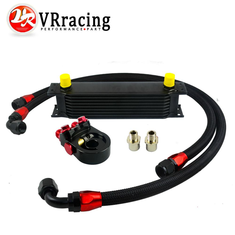 VR - Universal 9 ROWS OIL COOLER ENGINE+AN10 oil Sandwich Plate Adapte with Thermostat +2PCS NYLON BRAIDED HOSE LINE BLACK