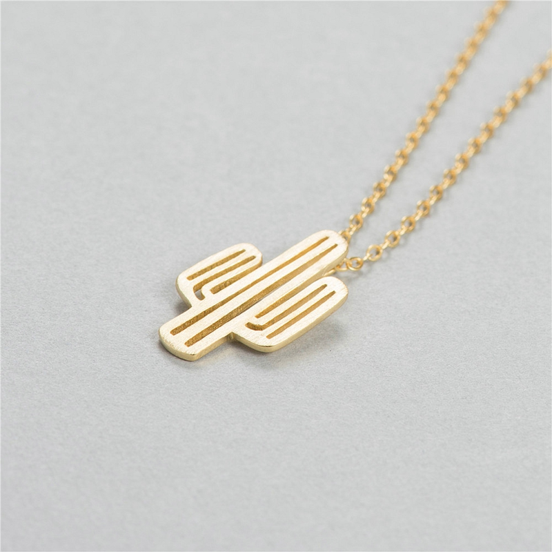 creative-personality-silver-jewelry-925-sterling-silver-golden-cactus-pendant-necklace-clavicle-chain-necklace-for-women
