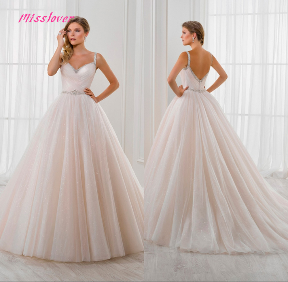 2019 new arrival Luxury Crystal Pearls Sashes Wedding Dress Sexy backless Bridal Gown with Court Train
