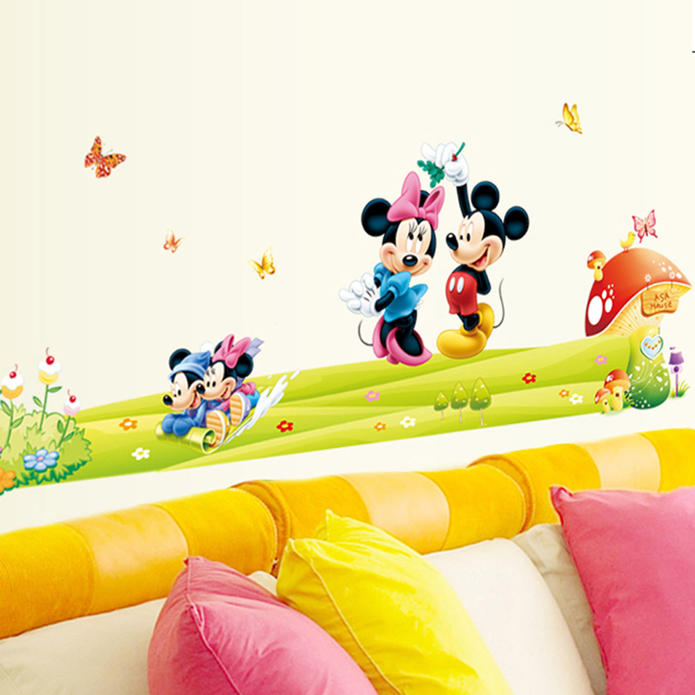 Hot mickey mouse and minnie mouse wall sticker children room hot mickey mouse and minnie mouse wall sticker children room nursery decoration diy adhesive mural removable vinyl wallpaper in wall stickers from home amipublicfo Image collections
