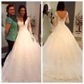 Vestido де Noiva дешевые Vestido феста лонго сексуальное полу-sheer полный рукавом молния назад тюль свадебное платье 2015 свадебное платье Casamento