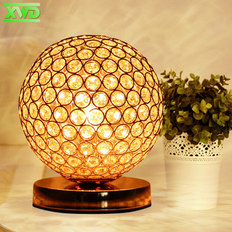 With LED Bulb Modern Desktop Decoration Crystal Table Lamp E27 Lamp Holder 110-240V Parlor/Bed Room/Bedside Cabinet Lights TU50