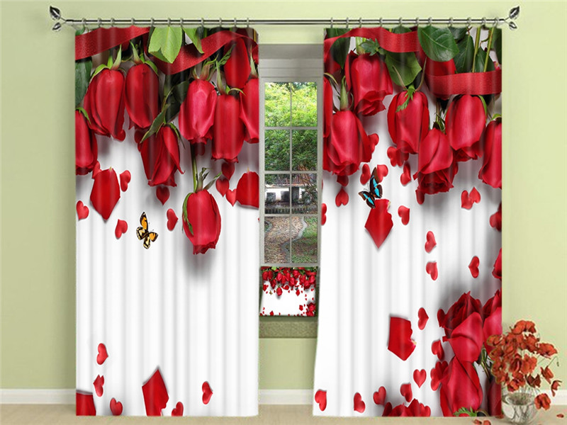 Red Rose Luxury Blackout 3D Window Curtains For Living Room Bedroom Drapes Cortinas For Girls Room