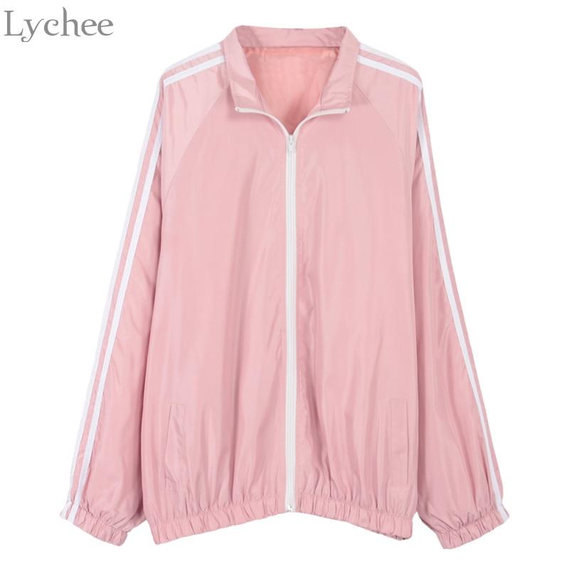 Lychee Spring Autumn Women Bomber Jacket Stripe Zipper Turn Down Collar Casual Loose Long Sleeve Oversize Coat