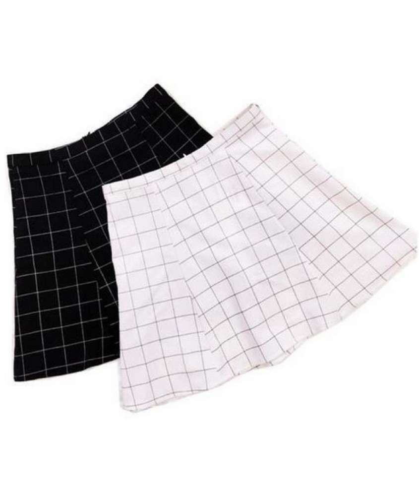 Black And White Checkered Skirt - Skirts