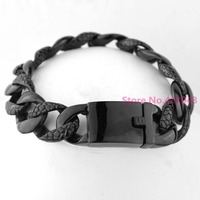 Heavy 18mm 316L Stainless Steel Bracelet Top Plated Black Curb Cuban Link Chain Mens Boys Fashion