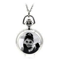 Современная мода Серебряный карманные часы и Fob ожерелье Relogio де Bolso эмаль женские часы Одри Хепберн леди подарок