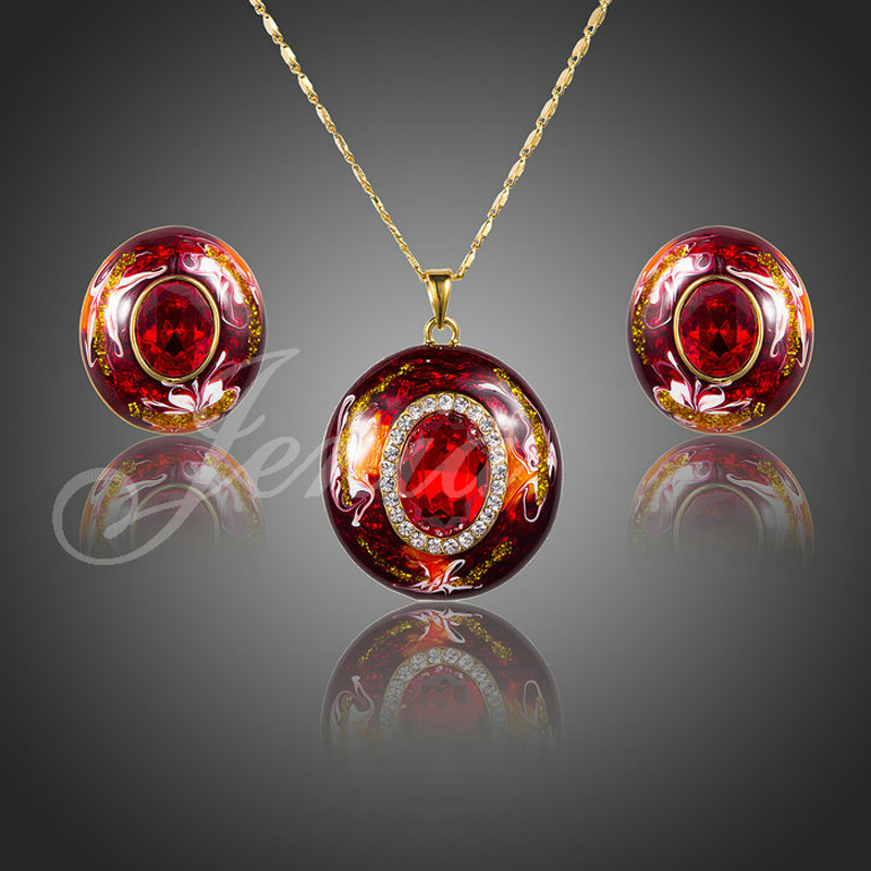 18K Real Gold Plated Oil Painting Pattern Red Austrian Crystal Stud Earrings And Necklace Jewelry Sets
