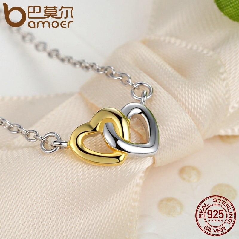 Bamoer натуральная стерлингового серебра 925 Свадебные украшения набор сердца к сердцу Ювелирные наборы Серебряные комплекты ювелирных издели...