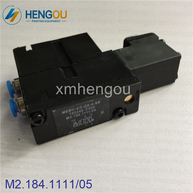 6 Pieces Import quality Heidelberg solenoid valve M2.184.1111/05, MEBH-4/2-QS-4-SA for SM102 CD102 SM52 PM52 machine 5 pieces high quality heidelberg solenoid valve m2 184 1121 05 heidelberg printing machinery parts