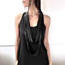YD & YDBZ חדש ציצית עור שרשרת לנשים מעצב ארוך תליון שרשרת קולר פאנק גבוהה רחוב תכשיטי בגדי אביזרים