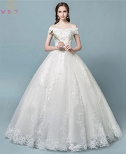 Buy China Direct Wedding Dresses 2019 New Style Sweetheart Neck Floor Length Lace-up Off Shoulder Appliques Sequined Bridal Gown
