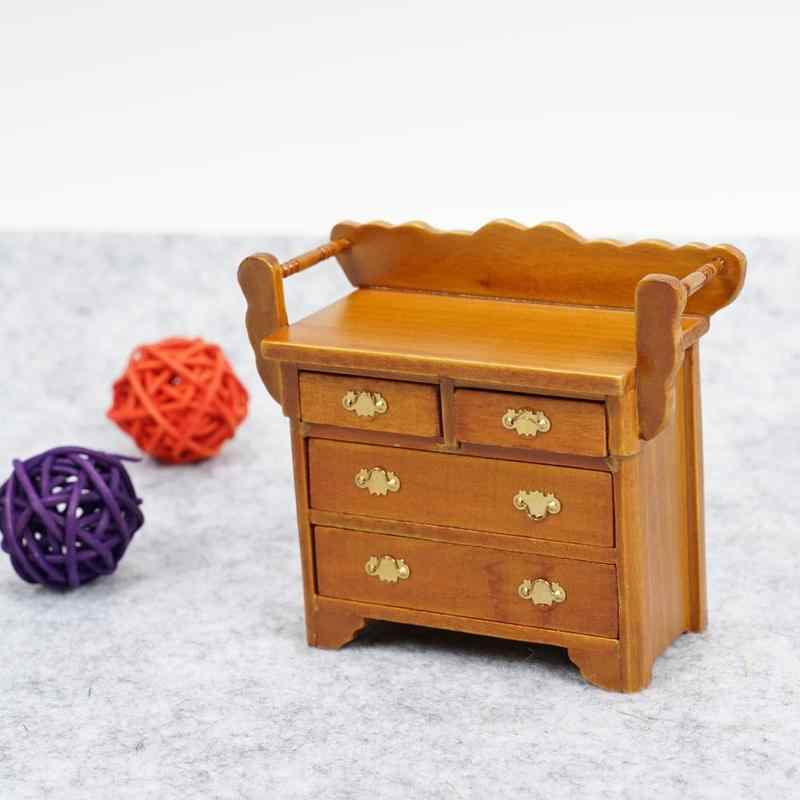 Cute Mini Drawer Cabinet Dollhouse Miniature 1:12 Wood Doll House Miniature Furniture Model Walnut Color Foyer Chest Drawers