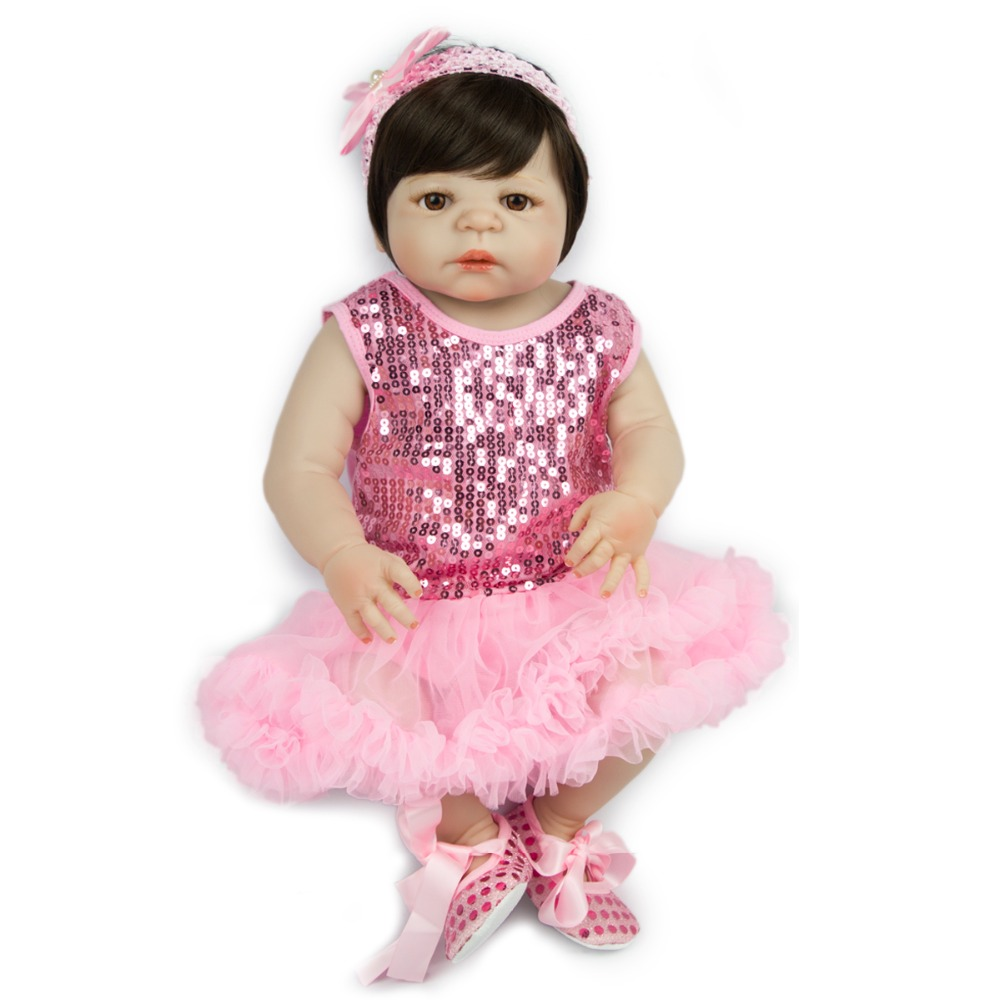 NPKCOLLECTION57cm popular full silicone lifelike  newborn baby girl with pink princess skirt silicone reborn baby dolls