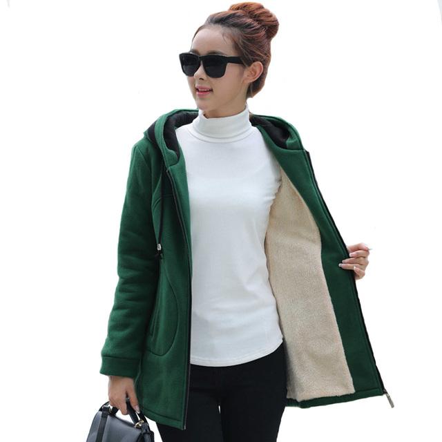 2016 Novas Mulheres Do Exército Verde/Preto/Vinho Jaqueta Casacos Grossos Parkas plus Size Casaco de Forro de Lã Com Capuz Outwear Jacket Quente Magro A921