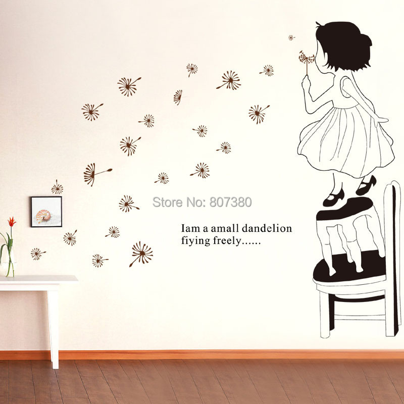 Wall Stickers Houseware Girl Dandelion Removable Decal Home Decoration - Rose-Jewelry store