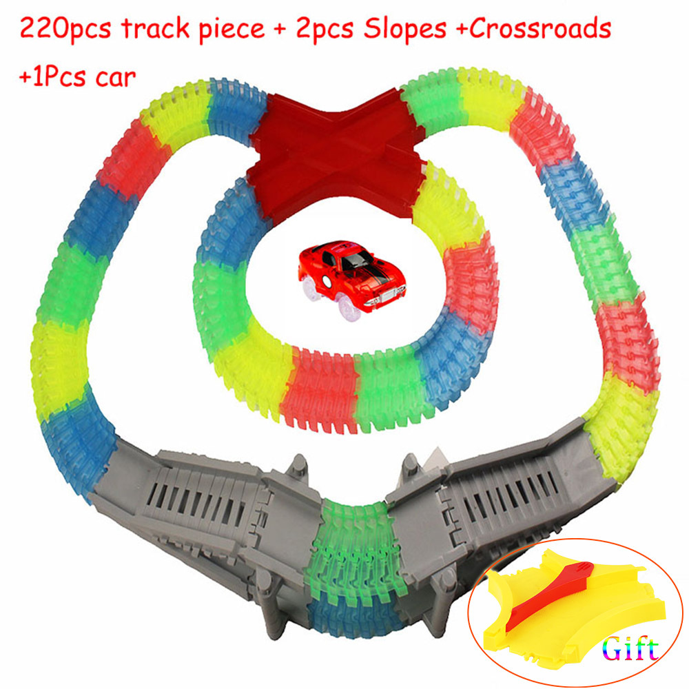DIY Slot 220pcs Tracks +1 LED Light Car +2 Ramps +1 Intersection Glow Raceway Flexible Curved Luminous Childrens Toys Gifts