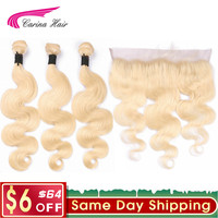 Carina Platinum 613 Blonde Hair Wave Bundles with 13x4 Ear to Ear Lace Frontal Closure Brazilian Remy Human Hair Extension Blond