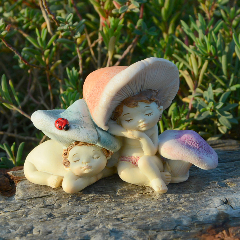 Creative cute mushroom elf flower fairy girl resin home decoration ornaments to send girls Festival gift fairy garden decoration in Figurines Miniatures from Home Garden