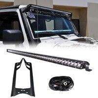 RACBOX 51 дюймов Off Road 250 Вт Однорядный светодиодный рабочий свет бар Монтажный кронштейн ветрового стекла проводка комплект для Jeep Wrangler JK 2007 2015