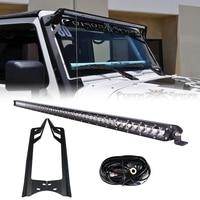 RACBOX 51 inch Off Road 250W Single Row LED Work Light Bar Windshield Mounting Bracket Wiring Kit For Jeep Wrangler JK 2007 2015