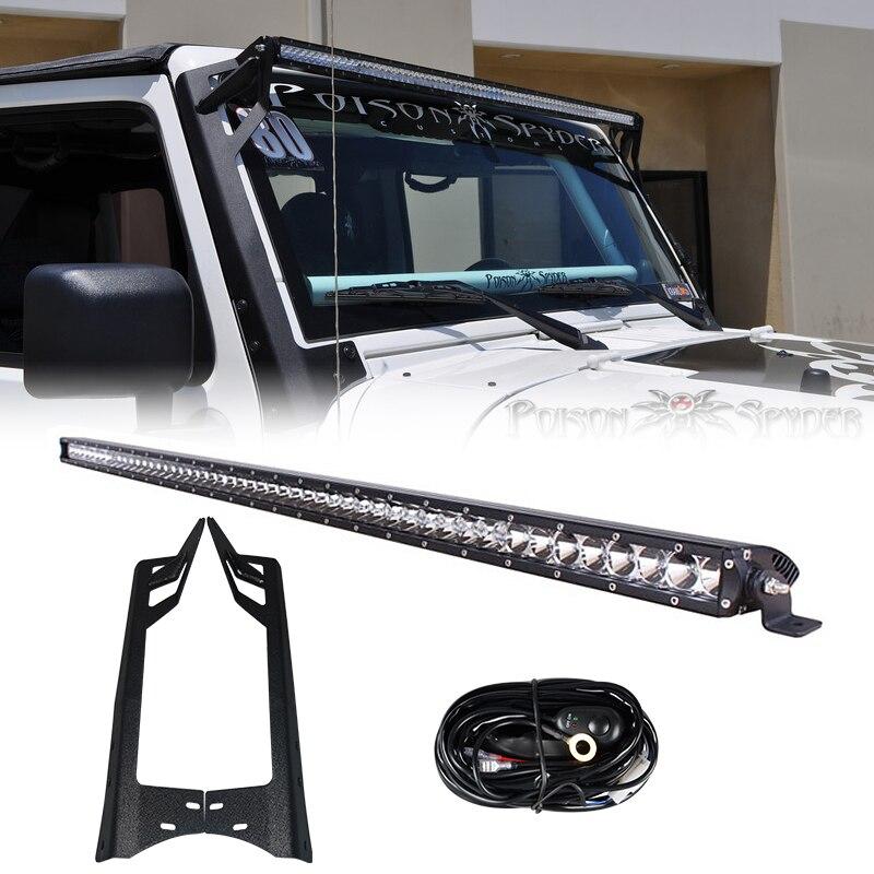RACBOX 51 pouces hors route 250 W LED une rangée barre de lumière de travail pare-brise support de montage Kit de câblage pour Jeep Wrangler JK 2007-2015