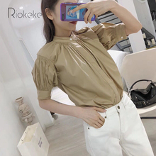 Riokeke Pleated Sleeve Elegant Women Blouse Stand Neck Shirt Sweet Casual 2018 Summer Tops and Blouses Women's Shirt Top Camel