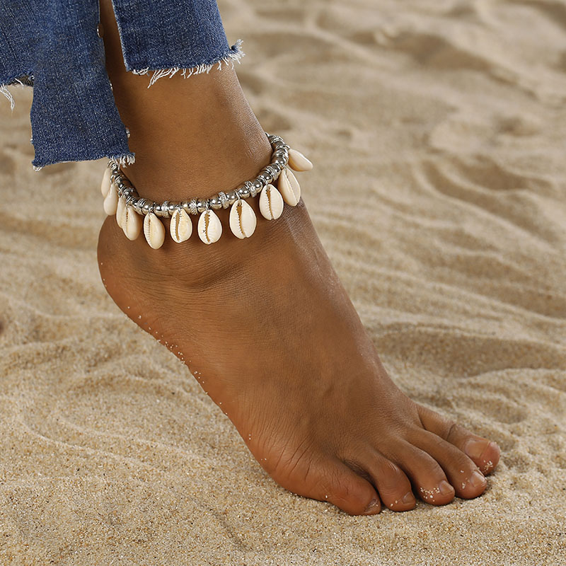 Boho Sexy Anklet White Bead Ankle Bracelet Natural Shell Bohemian Anklet Women Foot Jewelry Summer Beach Holiday Accessories