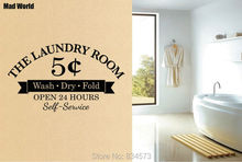 Mad World Laundry Room Wash Dry Fold Wall Art Stickers Wall Decal Home DIY  Decoration Removable Room Decor Wall Stickers