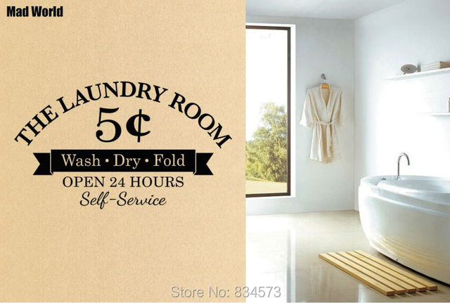 Mad World Laundry Room Wash Dry Fold Wall Art Stickers Decal Home Diy Decoration Removable Decor