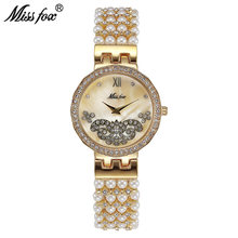 Miss Fox Butterfly Pearl Watch Fashion Brand Nature Pearl Small Cheap Womens Watches Gift For Girl Uhr Relogio Feminino Dourado(China)