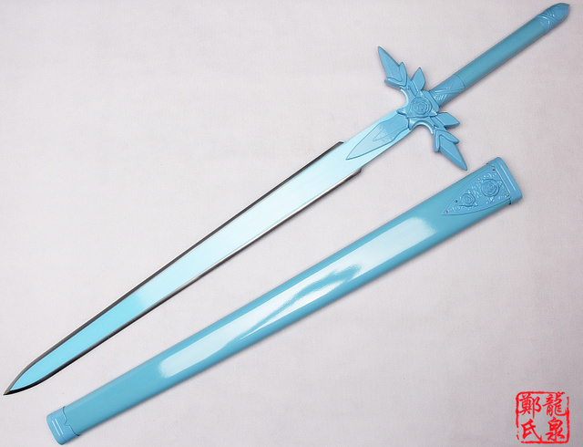 Metal Made Kirito Sword Art Online Blue Rose Eugio Replica Blade Project Alicization Wooden Scabbard Cosplay Props-No Sharp 1