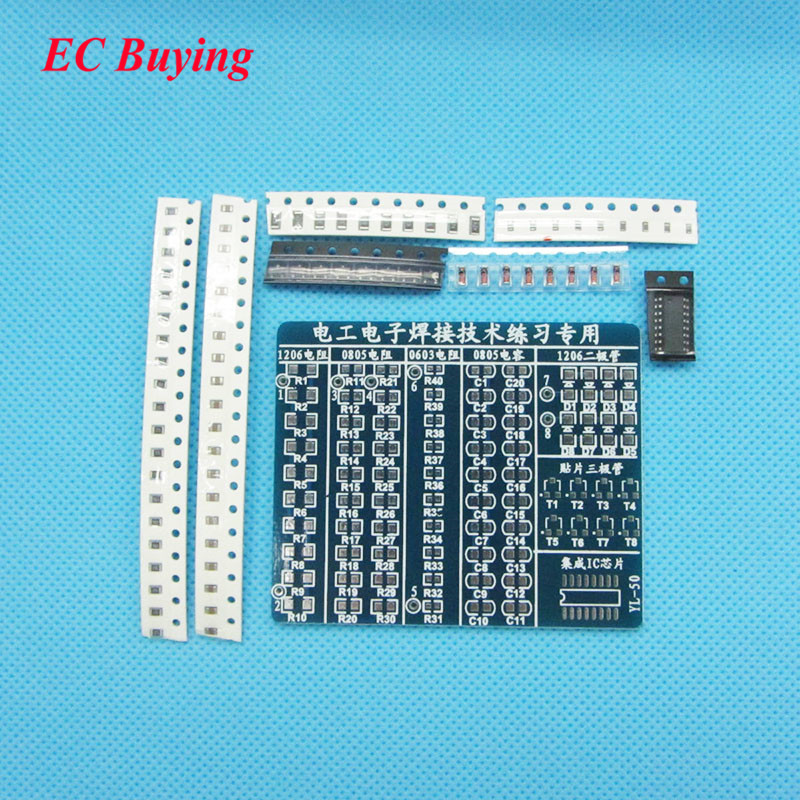 SMT SMD Component Welding Practice Board Soldering Practice DIY Kit 65x53mm DIY Parts Kits for Self-Assembly