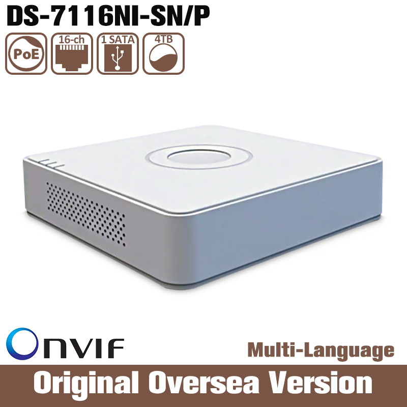 Hikvision Ds-7116ni-sn/p Cctv English Version HIK Uk Poe 16ch Nvr  Sata Interface Hdd Firmware Upgrade Mini Plug & Play Rca Usb