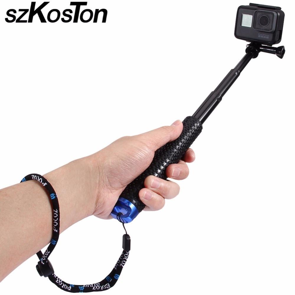 19/36 inch Extendable Self Selfie Stick Handheld Monopod Dive For SP POV Pole / Gopro Hero 4 3+ 3 2 sj4000 Sport Camera 6 fold retractable handheld monopod w strap mirror for gopro hero 4 1 2 3 3 sj4000 blue