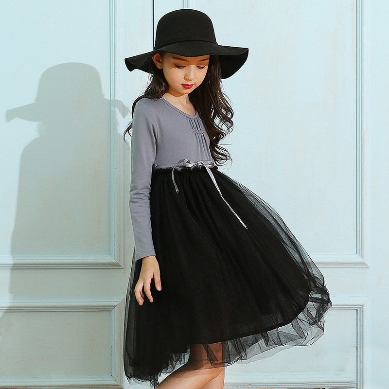 mesh patchwork girls princess dress long sleeve autumn spring 2017 new pink black baby teenage girl dress children clothing guess new pink long sleeve ruched body con dress xl $89 dbfl