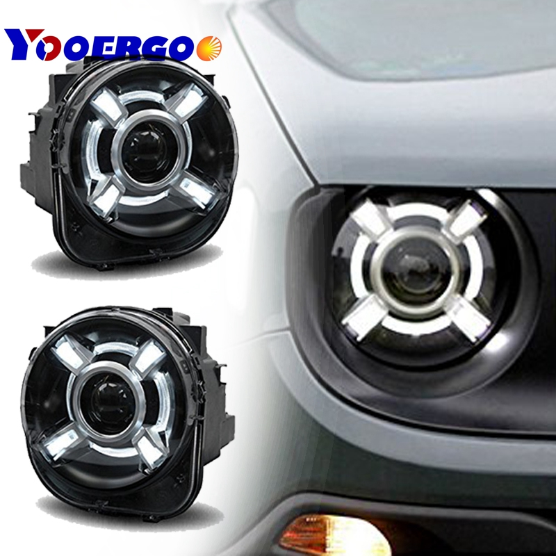 Pair For Jeep Renegade 2015 2017 HID Headlight with DRL Xenon Projector Headlamps For Jeep Renegade