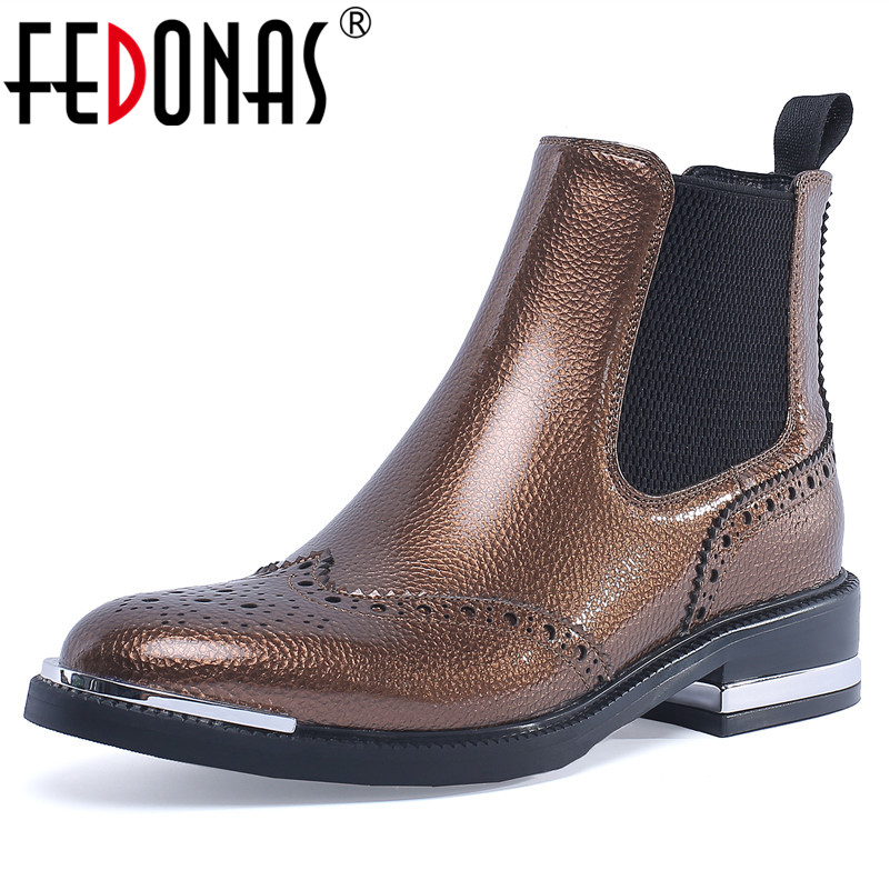 цена на FEDONAS 1Fashion Women Ankle Boots Autumn Winter Warm Patent Leather Square Heels Shoes Woman Round Toe Party Prom Dancing Boots