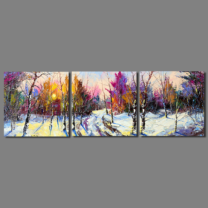 Colorful Abstract Art home decor 2 pcs living room decoration winter tree canvas oil painting printed wall hanging unframed