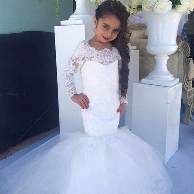45db1b2aebe Pretty White Kids Prom Dresses Lace Applique Long Sleeve Mermaid Tulle  Skirt Cute Flower Girl Dresses Formal Wedding party Gown