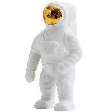 Space Man Astronaut Statue Sculpture Rocket Plane Creative Pattern Of Ceramic Material Cosmonaut Decorations
