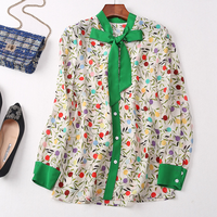 Women Fashion Occident Print Floral Bow Collar Long Sleeve Silk Top Blouse Shirt E84