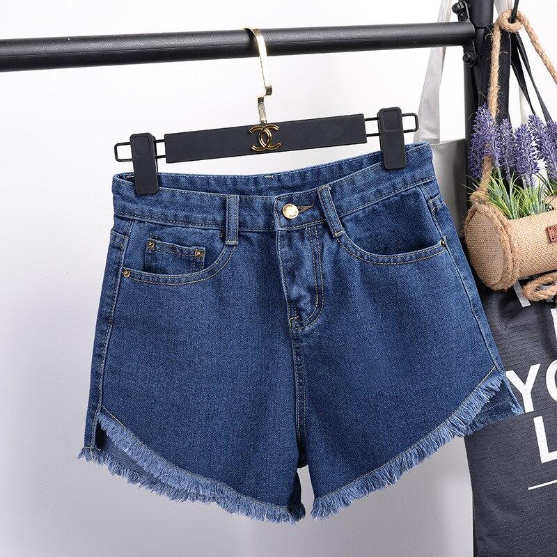 S-XXL Size Women Summer High Waisted Denim Shorts Loose Ripped Tassel Lace Up Feminino Ladies Harajuku Slim Casual Short Jeans